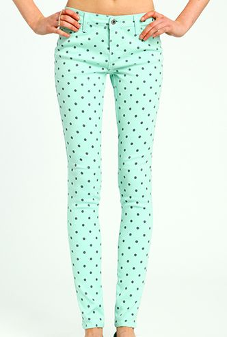 Ice Cream Parlor Polka Dot Skinny Jeans in Mint Green