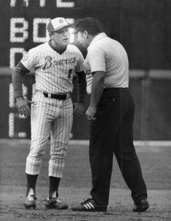 "Braves' manager arguing over a call with an umpire, 1977 ""Bristol, Dave. Baseball coach. Photo by Calvin Cruce"" AJCP009-118m, Atlanta Journal-Constitution Photographic Archives. Special Collections and Archives, Georgia State University Library."