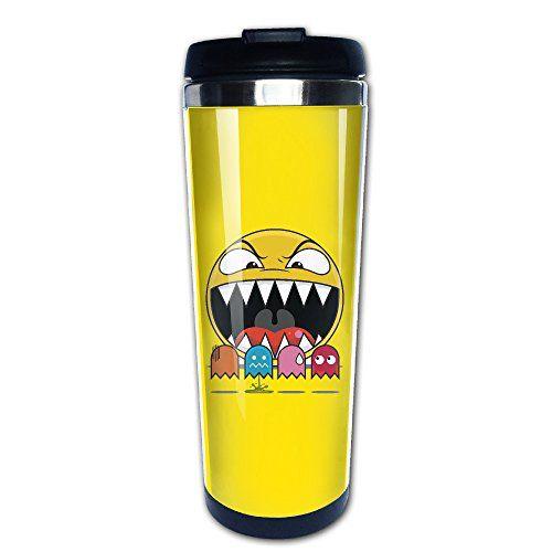 JaGa-Yin Mug Super Pac-Man Stainless Steel Mug / Coffee Thermos & Vacuum Flask @ niftywarehouse.com #NiftyWarehouse #PacMan #VideoGames #Pac-man #Arcade #Classic