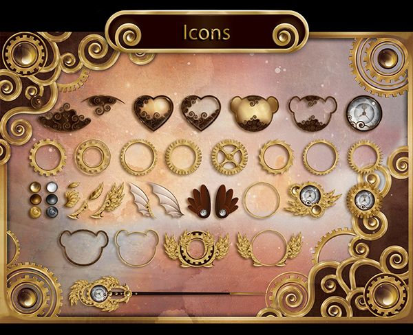 Steampunk bears: icons