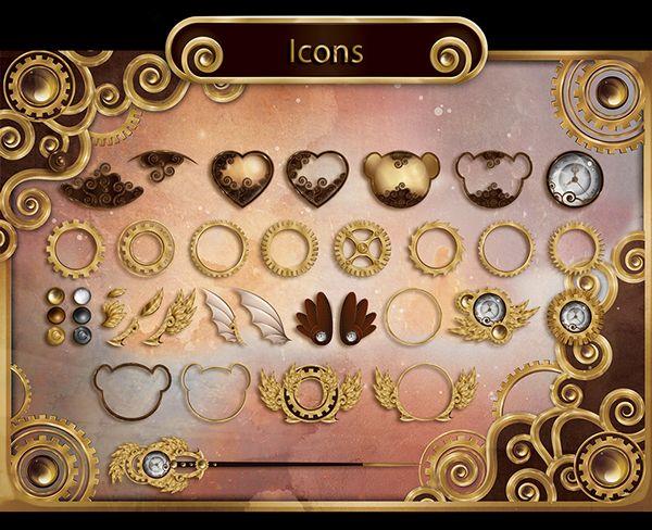 Steampunk bears: icons