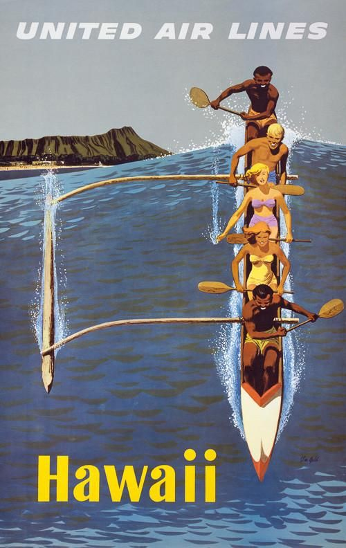 Hawaii outrigger canoe. This vintage United Airlines poster shows people paddling an outrigger canoe off Waikiki Beach. Diamond Head is in the background. Illustrated by Stan Galli, c. 1960s.