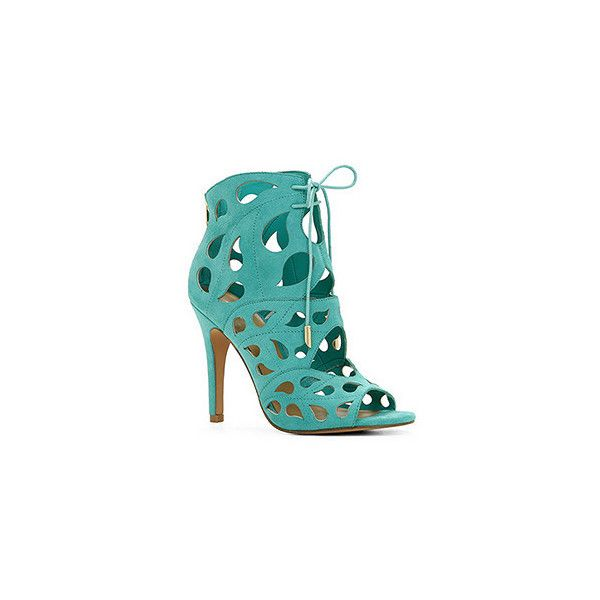 Sandals ($45) ❤ liked on Polyvore featuring shoes, sandals, teal, teal shoes, open toe shoes, cut out shoes, open toe high heel shoes and aldo shoes