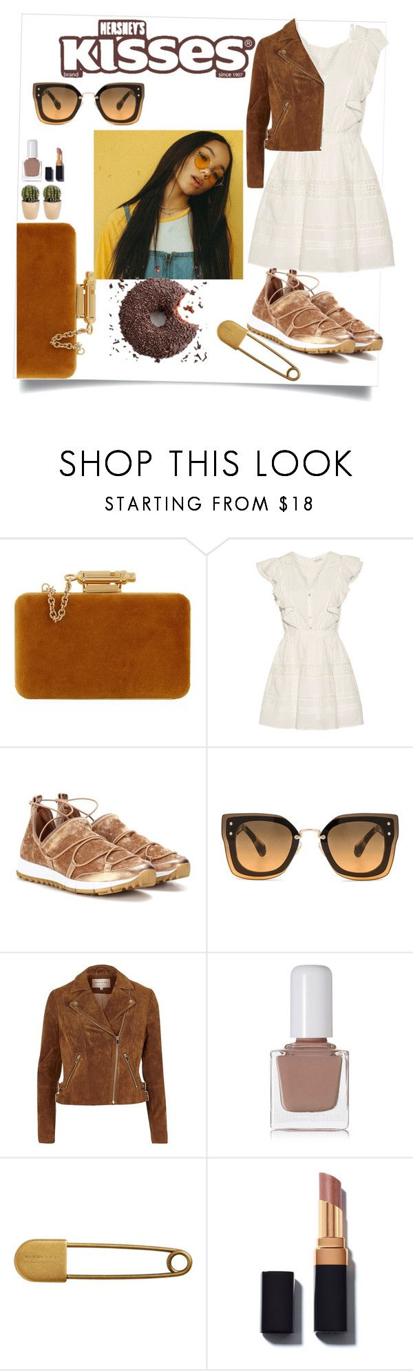 """""""It's So Bad, It's Good"""" by cassiecronk ❤ liked on Polyvore featuring Sophie Hulme, LoveShackFancy, Jimmy Choo, Miu Miu, River Island, tenoverten, Hershey's and Burberry"""
