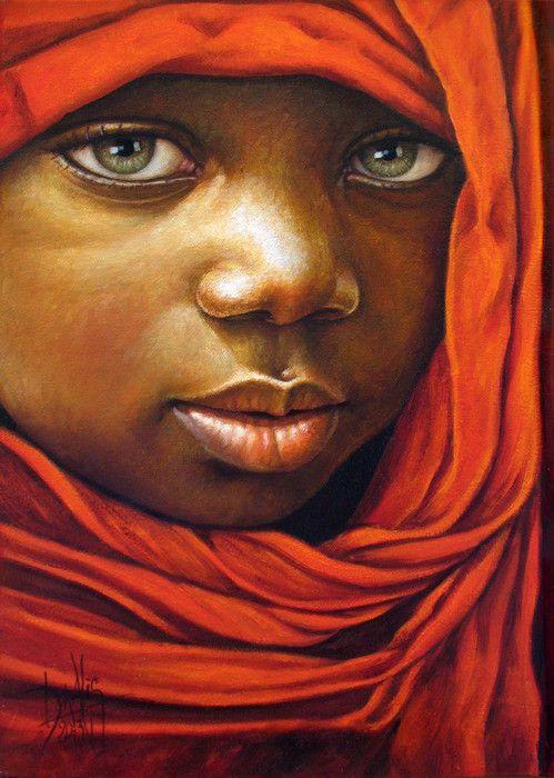 Niño de África 75 Óleo sobre lienzo 25 x 35 cm 2013 Dora Alis                                                                                                                                                      Más