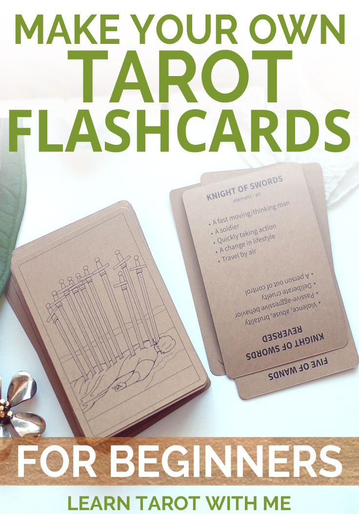 Create your own tarot flashcards with this digital and printable PDF download from Learn Tarot With Me. The regular and reversed meanings are included on the back of each card!
