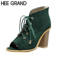 HEE GRAND Женщины Peep Toe Сандалии Лето Стиль Площади 10 см Высокие Каблуки Сапоги Сандалии Гладиаторов Обувь Женщина Размер 39 XWZ3410