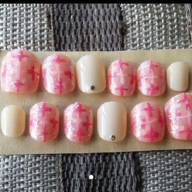 ベリーショート ツイード×アイボリー コスメ/美容のネイル(つけ爪/ネイルチップ)の商品写真