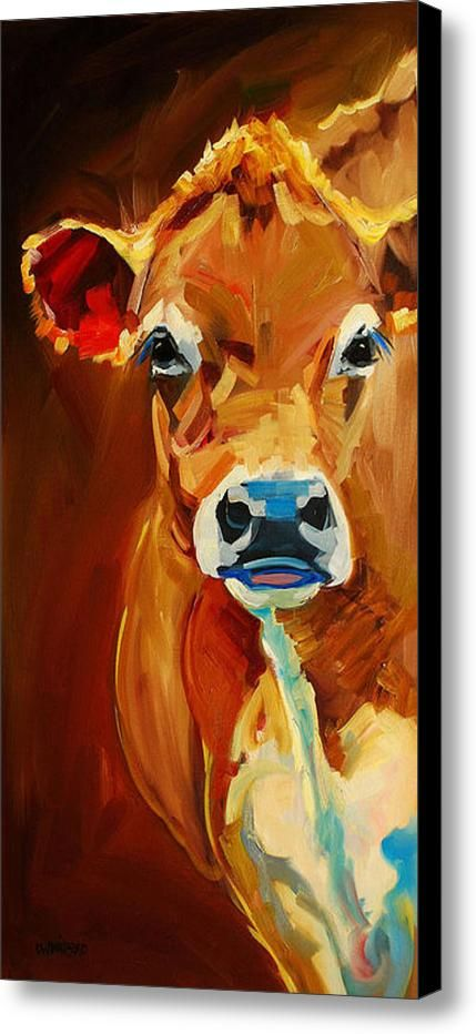 Peek Cow Canvas Print / Canvas Art By Diane Whitehead