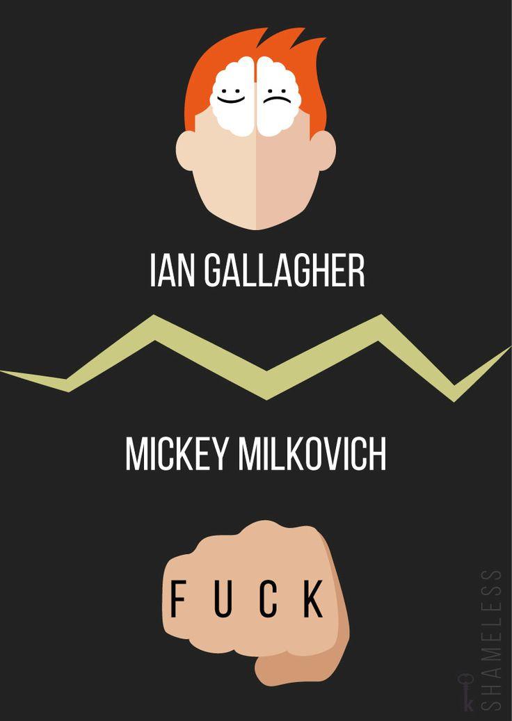 Ian Gallagher and Mickey Milkovich minimal poster design © K