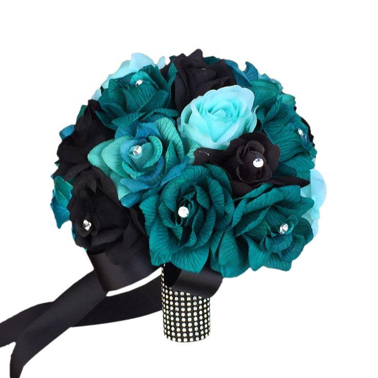 "10"" Bouquet:Teal Jade Aqua Black Silk roses with rhinestone"