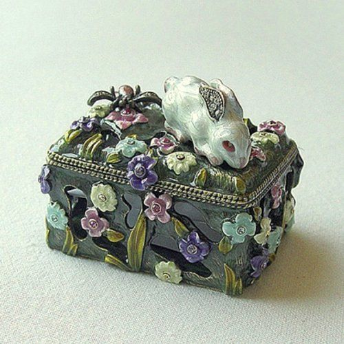 Bunny Dragonfly Box Swarovski Crystals Bee Jewelry, Trinket or Pill box figurine Dazzlers. $37.95. Set with sparkling Swarovski Crystals and meticulously hand enameled by skilled artisans.. Stocked on site! Quick Delivery! (See this item's detailed specifications below.). Arrives in a padded, satin lined Presentation Box. 100% Satisfaction Guaranteed by this bonded seller.. Certificate of Authenticity included. Limited edition item which is sure to grow in value ove...