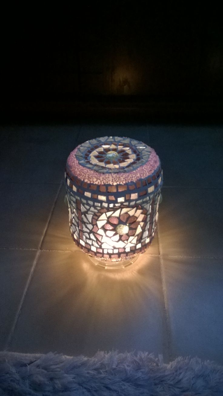 Mozaik kavonoz lamba ,sarkıt , abajur . Mosaic lamp