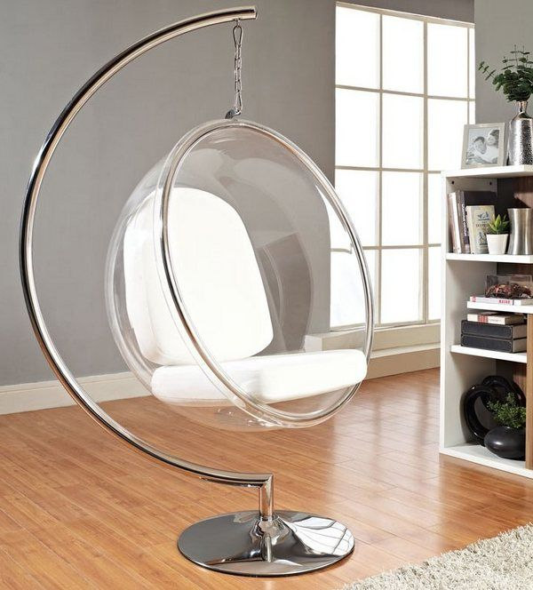 Прозрачное кресло бабл на подставке