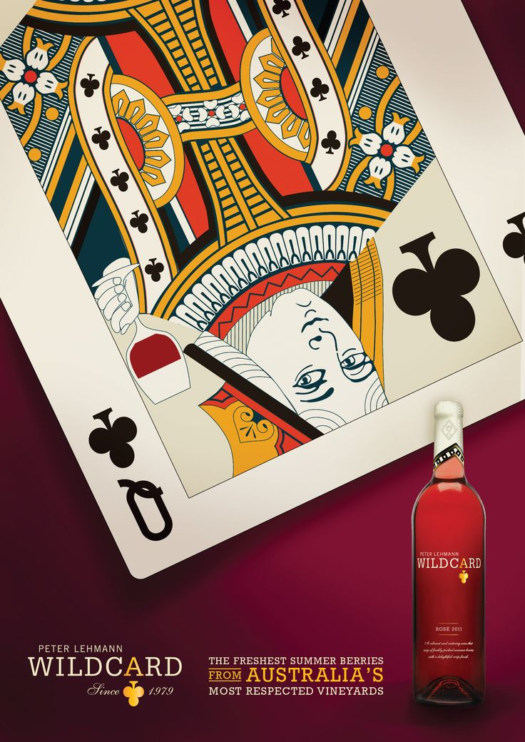 Wildcard. Rose Wine. Advertising. London Underground. 6 Sheet Ad. Queen of Clubs. Designed by White is Black.