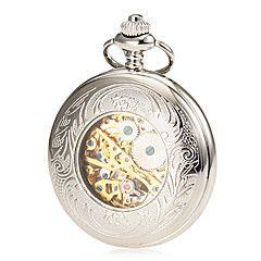 メンズメカニカル中空カバー銀合金懐中時計