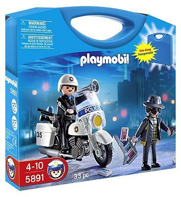 PLAYMOBIL Police Carry Case 5891 10170102 40 Advantage card points. The Playmobil Police Carry Case includes a policeman and his motorcycle for patrolling the streets. The set comes in a handy carry case to keep all the bits safely stored. FR http://www.MightGet.com/april-2017-1/playmobil-police-carry-case-5891-10170102.asp