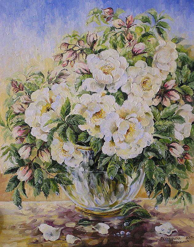 Картины - Цветы - Белый шиповник (Холст, масло)