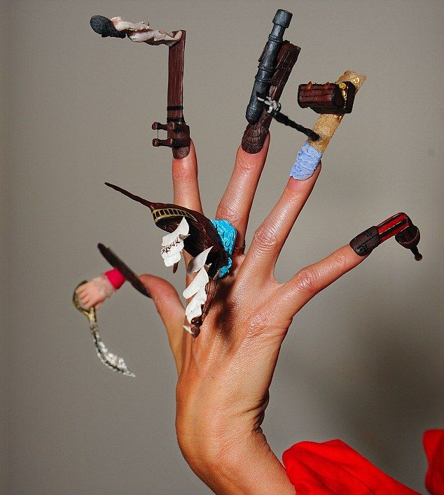 My most famous piece of artwork that was shown in the Daily Mail and online sites all over the world. My Pirate nails where modelled by Elizabeth Mills for The Nailympics 2010. I received the Top UK nail technician award for Division 1.
