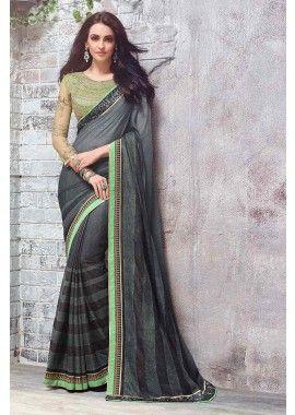 Shaded Black Georgette Shaded Foil Print Saree, - £141.00, #WeddingWear #DesignerDresses #LondonShopping #ShopkundUK