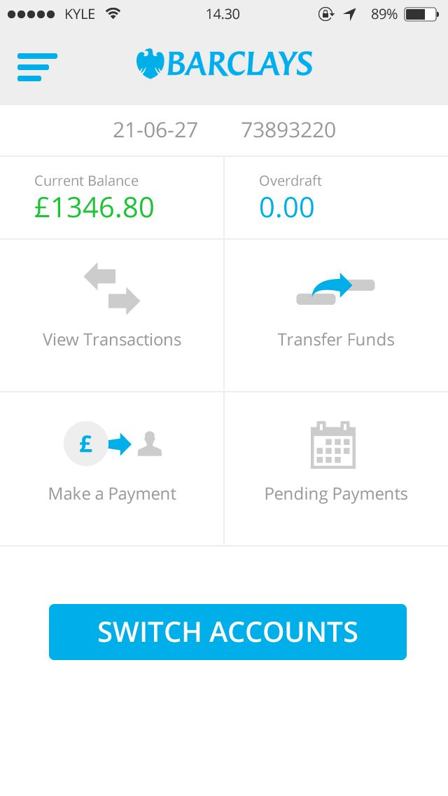 iOS 7 Barclays App Account Overview by Kyle Craven