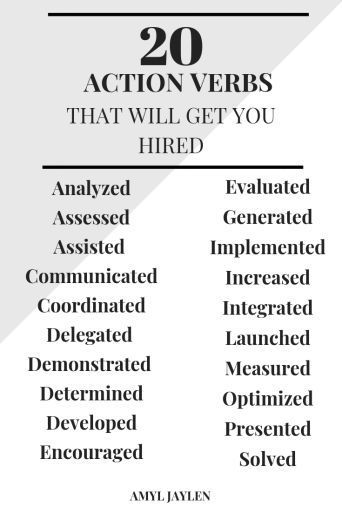 20 Action Verbs to List on your Resume!!college Resume