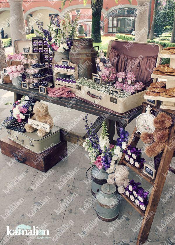 www.kamalion.com.mx - Mesa de Dulces / Candy Bar / Postres / Bautizo / Purple / Pink / Rustic Decor / Dulces / Escaleras / Lechero / Maletas / Reloj / Vintage / Macaroons / Teddy / Flowers.