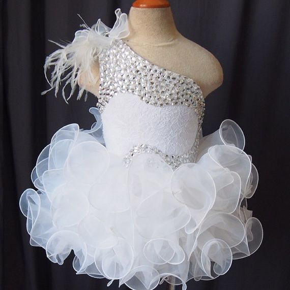 2015 Newest White Little Girls Pageant Dresses Cupcake Princess Dress Custom Made Flower Girls Dresses with Crystals