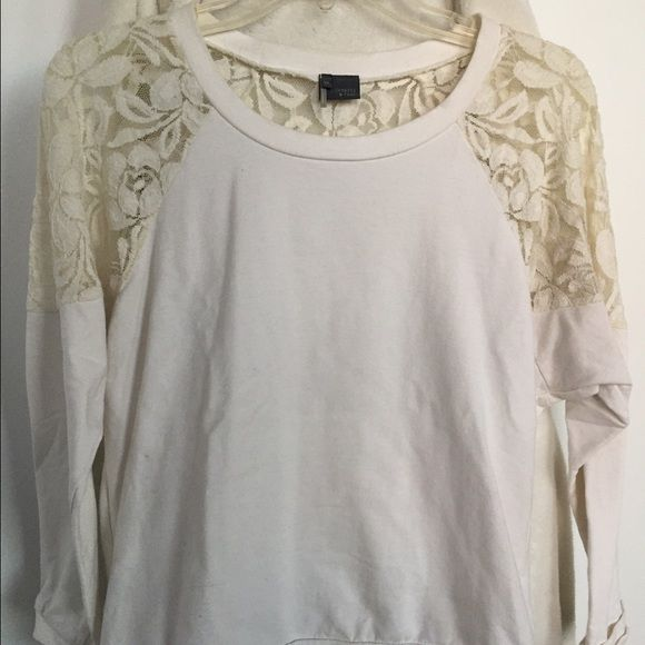 Urban Outfitters-Sparkle and Fade long sleeve top From Urban Outfitters- great condition. Cream long sleeve with crochet back. Urban Outfitters Tops Sweatshirts & Hoodies