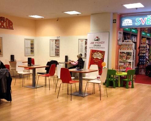 Café Break with Books, Toys, and Play, BOOKSTORE LUXOR on the Wenceslav Square.Part of the bookstore is a cozy cafe (1st floor), where you can relax when choosing books with a cup of coffee or glass of  wine.#prague#child#baby#family#czech#cafe#fun