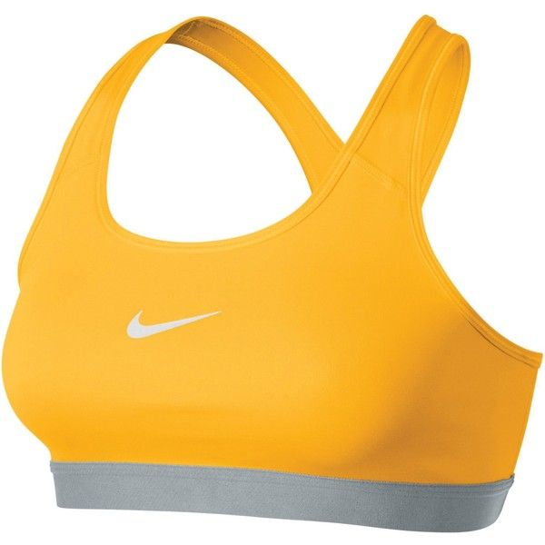 Nike Pro Classic Sports Bra, Varsity Maize ($36) ❤ liked on Polyvore featuring activewear, sports bras, padded sports bra, yoga sports bra, yellow sports bra, racer back sports bra and nike sportswear