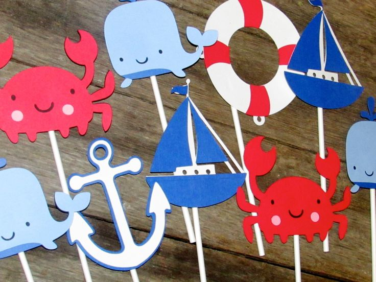 6 Nautical Table Decor Sticks, Table centerpiece sticks Crab, whale, anchor, sailboat by PurpleZebraPaperCo on Etsy https://www.etsy.com/listing/182671729/6-nautical-table-decor-sticks-table