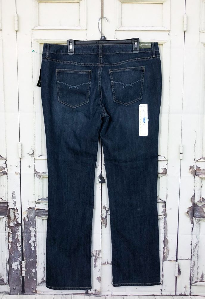 eddie bauer straight leg jeans womens sz 14 dark wash zip fly cotton rh pinterest com