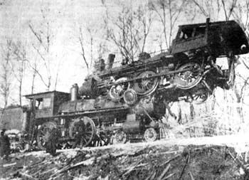 In 1901, the White Pigeon, Michigan, area saw a head-on steam engine collision on New York Central Line that left one person dead, four hurt and one engine atop the other.