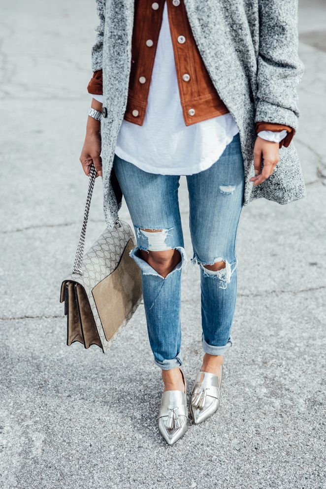 So many good things here. Camel and grey. Shiny shoes. A denim jacket in not denim.