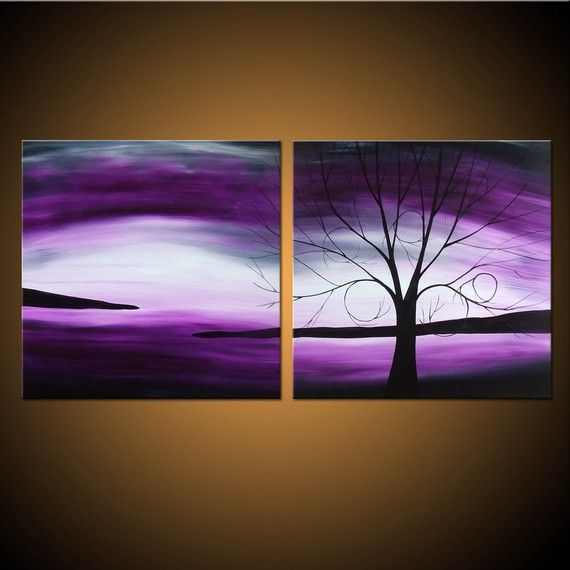 Twilight Dreaming -- Custom Painting -- Purple Tree Landscape on Two Stretched Canvases via Etsy