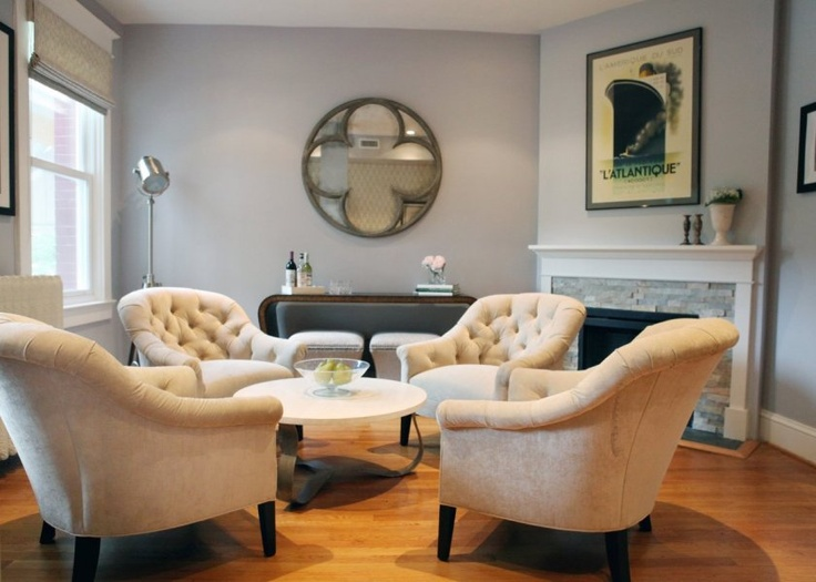 In this transitional living room, a quartet of tufted armchairs stand in  for a more traditional sofa-and-chairs grouping. The light gray wall color,  ... - 61 Best Images About Furniture Arrangement - Four Chairs On