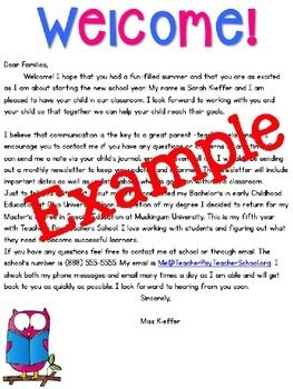 welcome back school letter