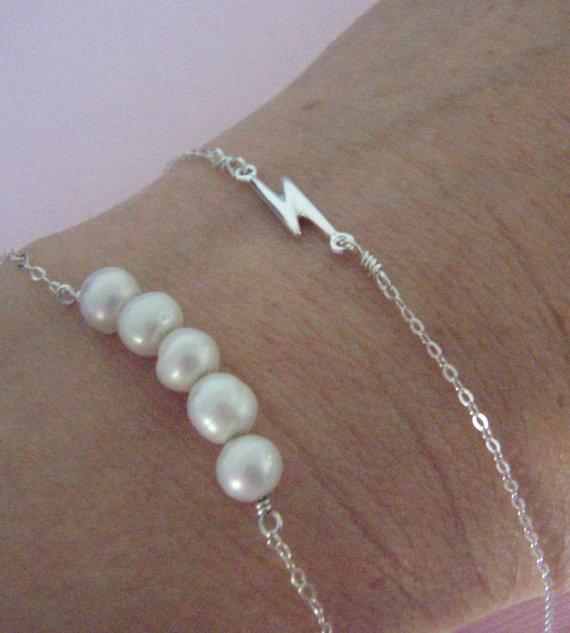 SALE- Sterling Silver bracelet-  sideways lightning bolt- Simple silver bracelet-  Everyday jewelry- Lightning Strike. $12.00, via Etsy.