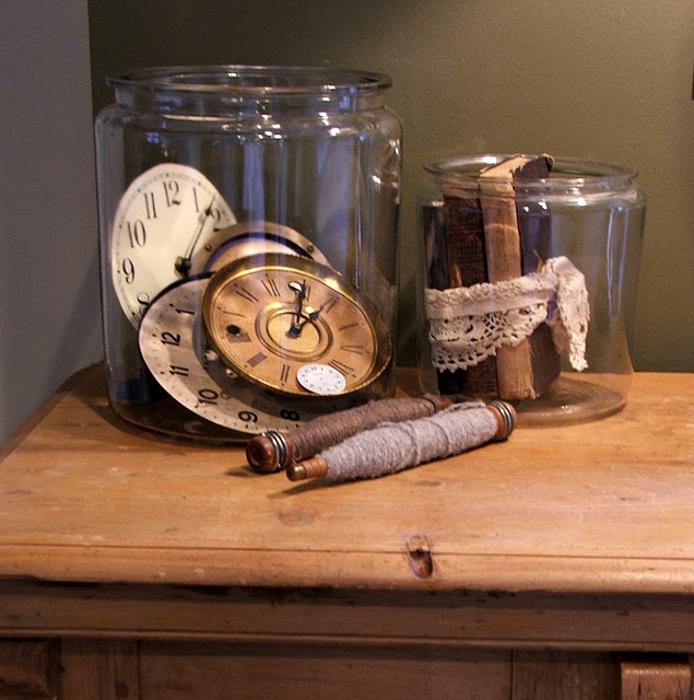 filled with clock faces and vintage books: Vintage Books, Vintage Clocks, Collection Ideas, Clock Faces, Glasses Jars, Display Ideas, Jars Ideas, Clocks Collection, Clocks Clocks Faces Tim