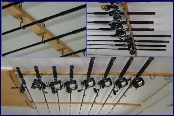 Diy garage storae ideas diy rod storage for the home for Fishing rod storage ideas