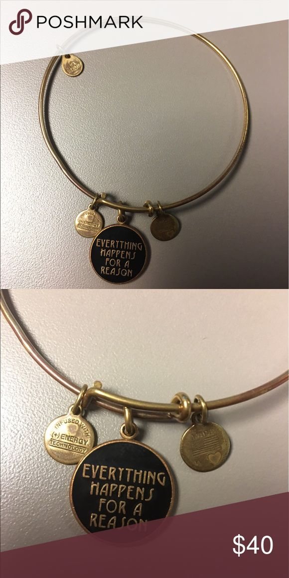 Alex & Ani Everything Happens/Reason Bangle *GOLD* Alex & Ani Everything Happens for a Reason Bangle, EUC have too many and need to start downsizing.  Your gain, my loss. Alex & Ani Jewelry Bracelets