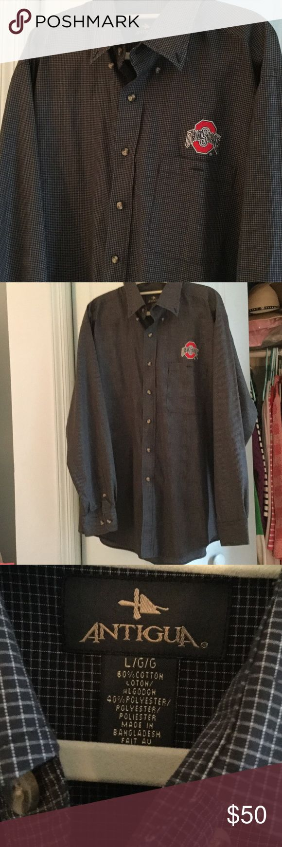 Ohio State men's button down.. Game Day Apparel! Awesome button down for Ohio state game day! In perfect condition! Antigua Shirts Casual Button Down Shirts