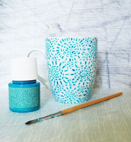 Make your own hand-painted mugs with this easy technique