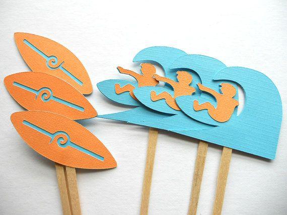 Moda Surf Party-Beach Party-Tavola Da Surf-Surfer toppers cupcake di nozze mare da cocktail Party Food Picks