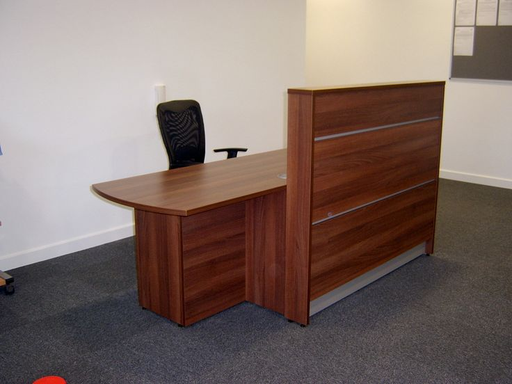This Union Compact Reception Desk Finished In Walnut Has Built Storage To The Rear