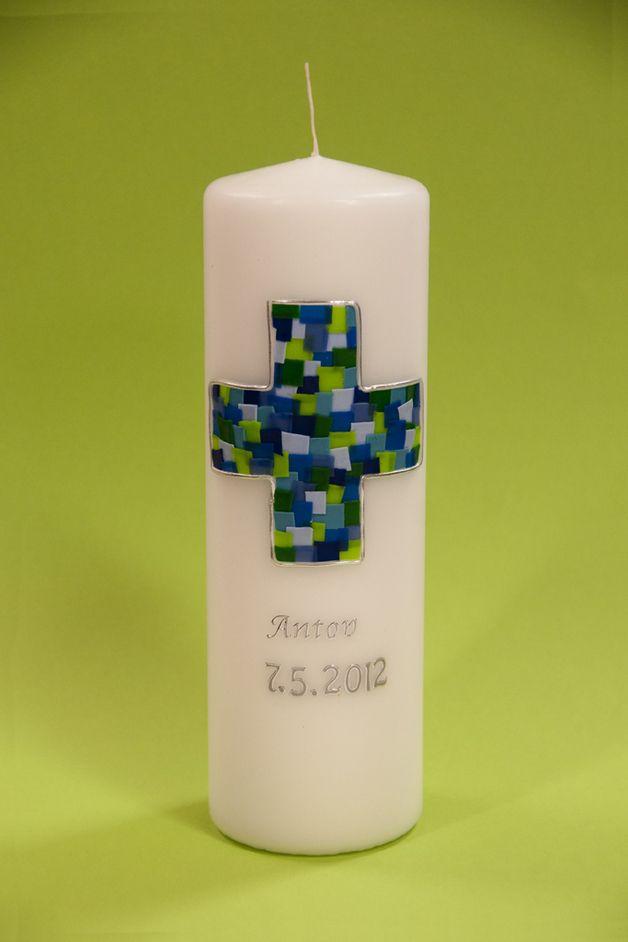 Taufkerzen - Taufkerze blau -grünes buntes Kreuz - ein Designerstück von La-Vie-so-ist-das-Leben bei DaWanda