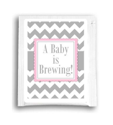 This listing is for 25 A Baby is Brewing tea bag favors in gray chevron and accent. Choose your color accent from the drop-down menu.  The tea bag favors offer you a stylish, personalized favor at a great low price. Each tea bag comes sealed inside a beautiful white gloss foil envelope (2.5w x 3h) to lock in the flavor and freshness of the rich traditional blend of black teas.  If you would like something a little different, we can CUSTOMIZE the design on the label for your event. Our tea…