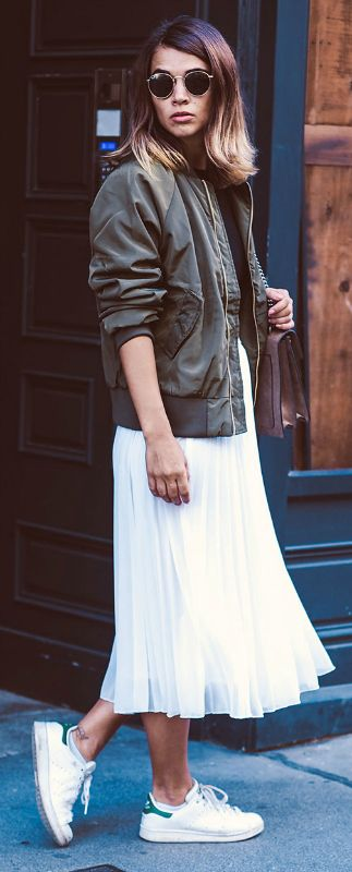 bomber jacket + maxi skirt + Nina + edgy but feminine everyday look + similar skirt + sneakers + Nina's style.   Rock: Asos, Top: H&M, Jacket: NA-kd.com, Shoes: Adidas.