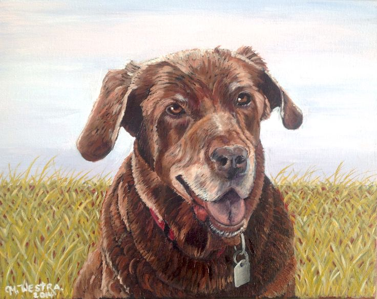 This is my portrait of Henry, a Chocolate Lab dog. It is painted in oil on canvas. Check out my website for more commissioned portraits: http://moniquewestra.com
